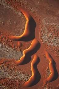 Photo:  aerial view of dunes in the the Namib