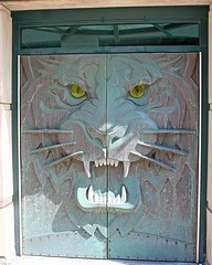Photo:  Bronze doors with a tiger's face