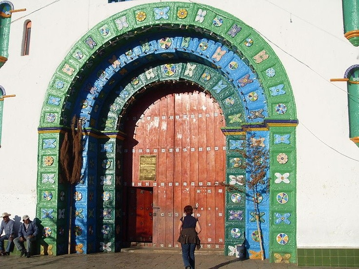 Photo:  Church portal at San Juan Chamula, Chiapas, Mexico