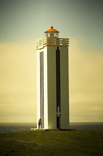 Photo:  art deco lighthouse in Kálfshamarsvík, Iceland