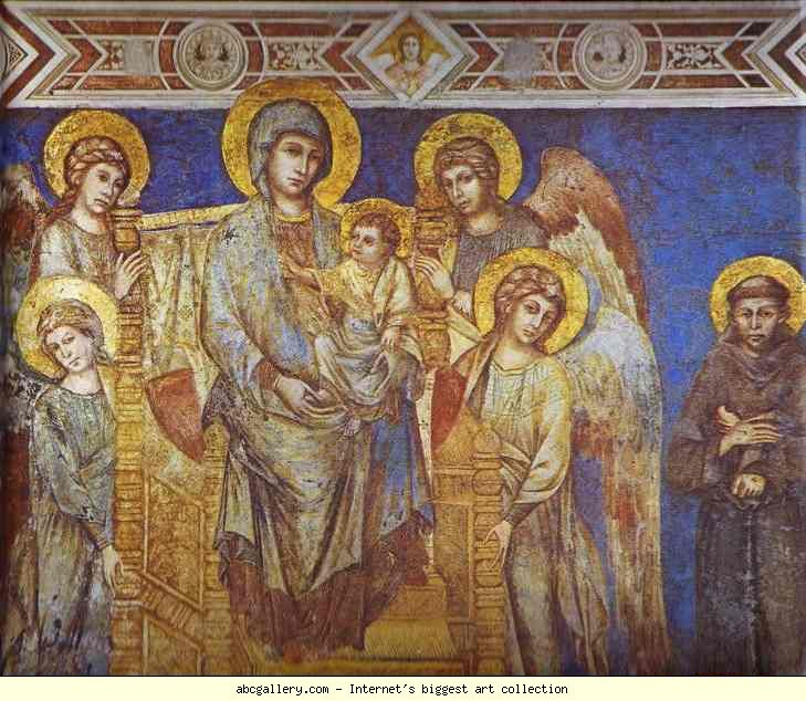 Photo:  Cimabue. Madonna with Angels and St. Francis. Detail. Fresco. Basilica in San Francesco, Assissi, Italy