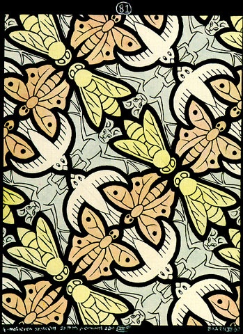 Photo:  '4 motifs' (1950) Flying animal theme Tessellation Art by M. C. Escher