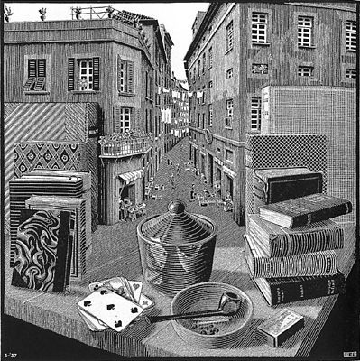 Photo:  'Still Life and Street' by M.C. Escher