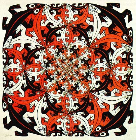 Photo:  'smaller' (1956) Tessellation art by M. C. Escher
