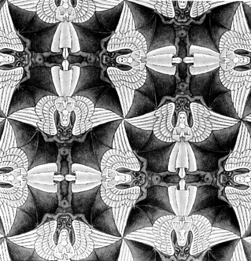 Photo:  Angels and Demons Circle Limit IV (Heaven and Hell) by M.C. Escher, 1960 (detail)