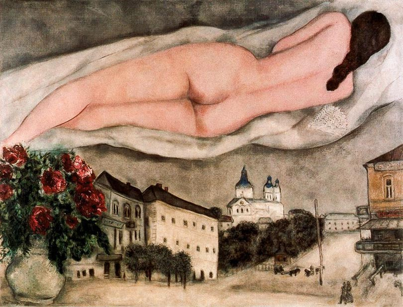 Photo:  Marc Chagall,Nude over Vitebsk (Nu au dessus de Vitebsk), 1933