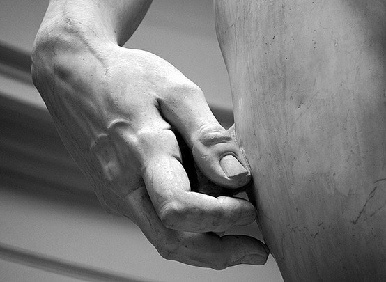 Photo:  Hand detail of Michelangelo's David