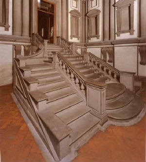 Photo:  Laurentian Library staircase designed by architect Michelangelo. 1524