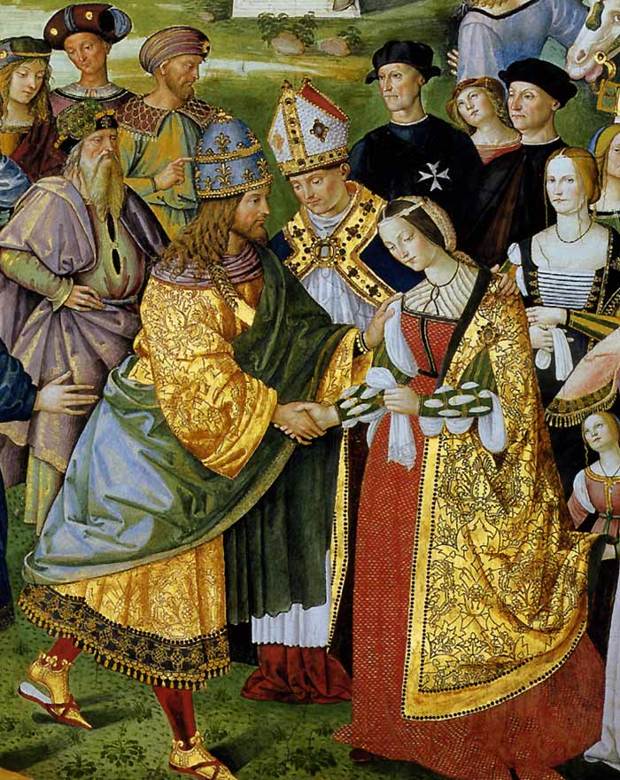 Photo:  Aeneas Piccolomini Introduces Eleonora of Aragon to Frederick III,detail, 1502