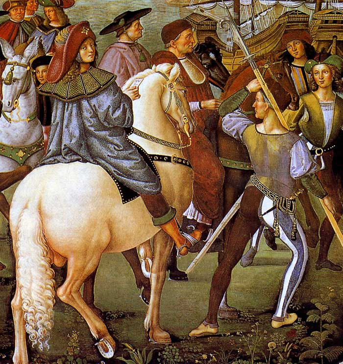 Photo:  Aeneas Piccolomini leave for the Council of Basel, detail 2, 1502