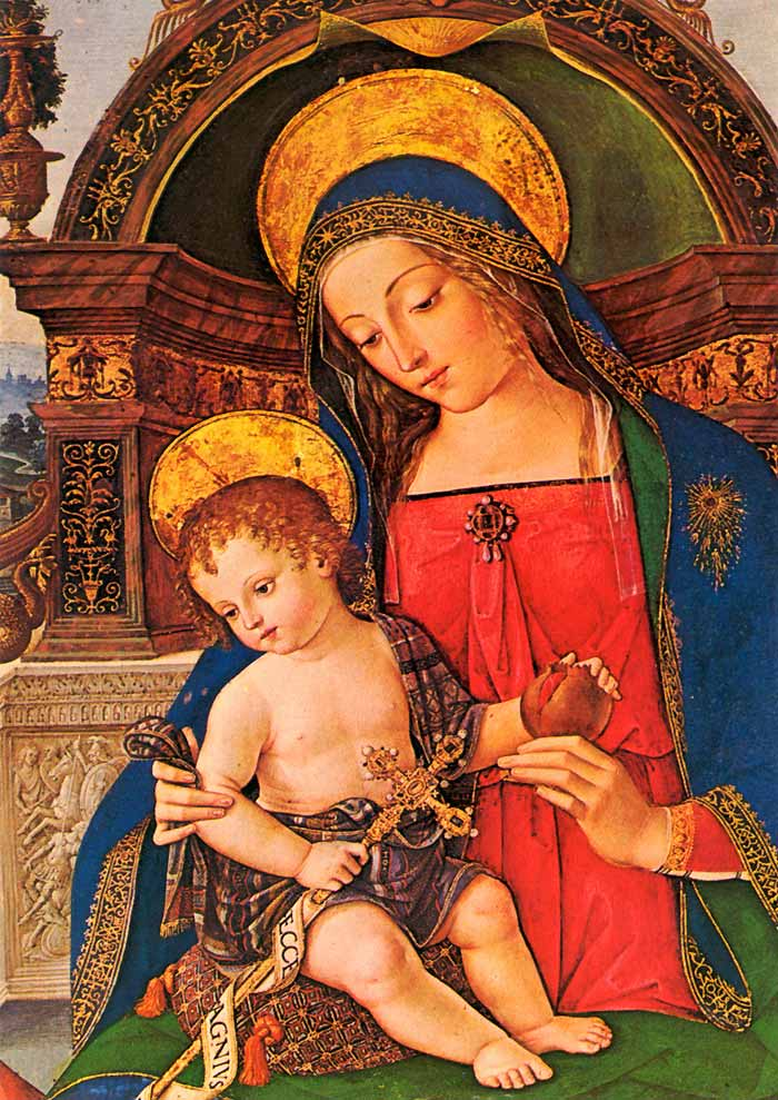 Photo:  Madonna and Child with St. John Baptist, detail, 1495
