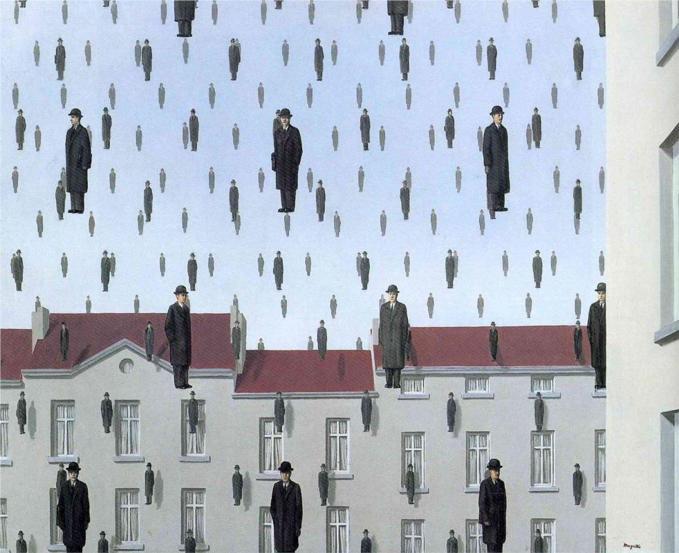 Photo:  Rene Magritte,Golconde,1953