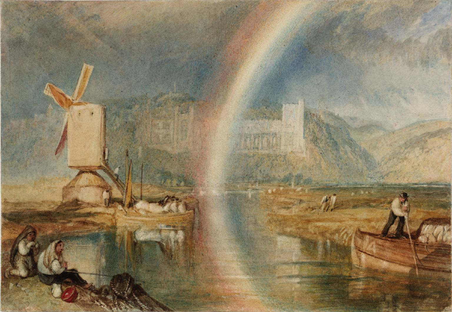 Photo:  Arundel Castle on the River Arun, with a Rainbow