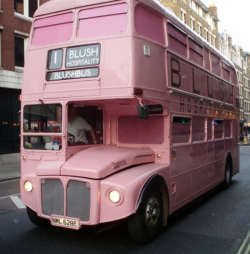 Photo:  pink double decker bus