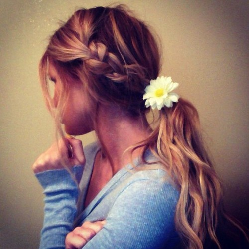 Photo:  Braid into low pony