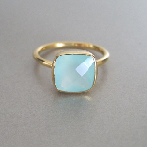 Photo:  Aqua Chalcedony Square Gold Ring