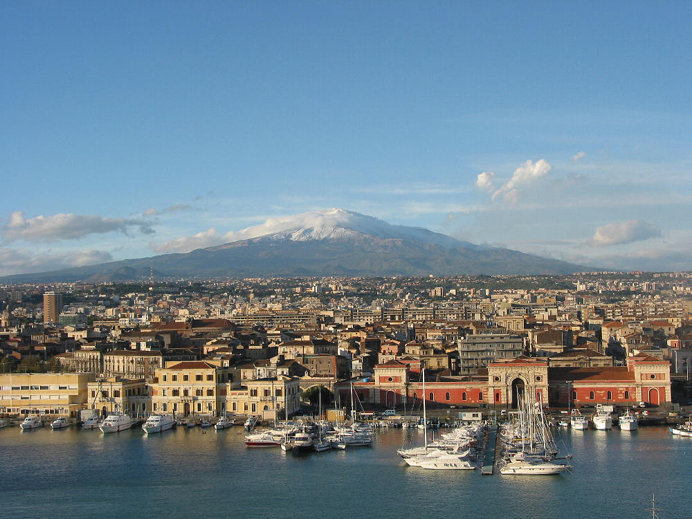 Photo:  Catania with the Mount Etna