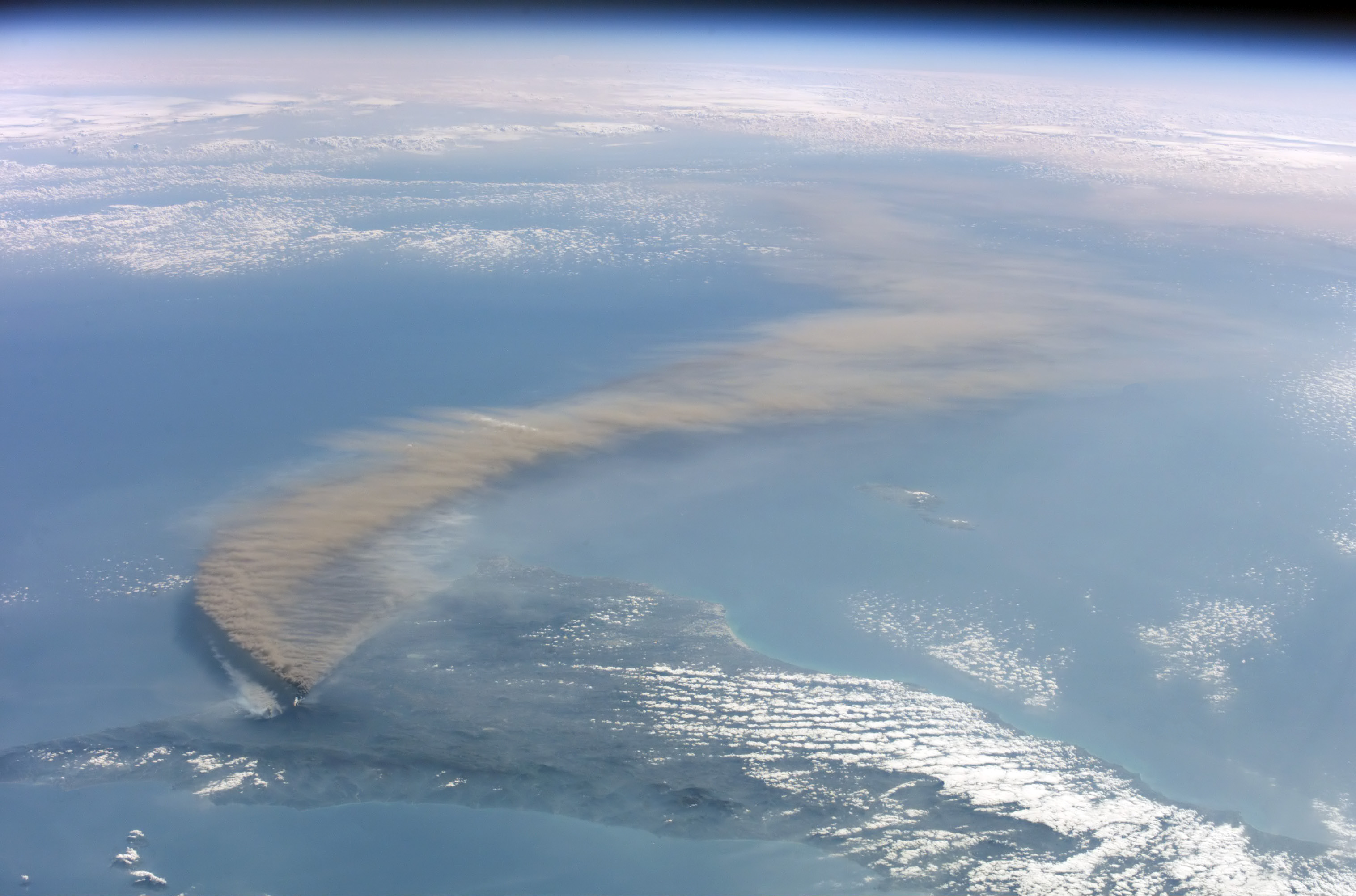 Photo:  Etna smoke seen from space
