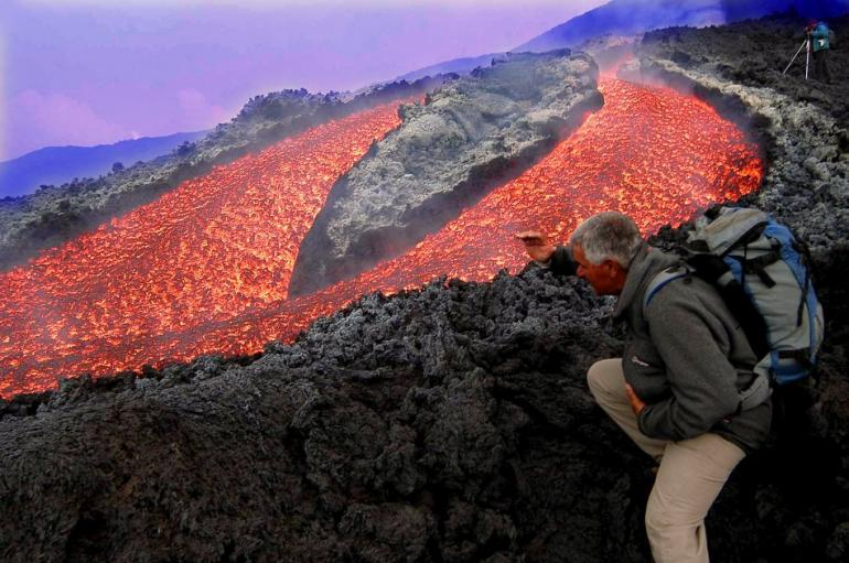 Photo:  Mount etna eruption in 2004