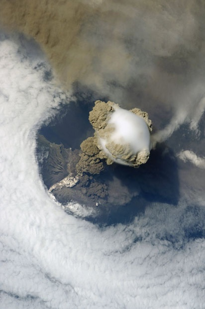 Photo:  Pileus cloud above the Sarychev volcano as it erupts, Kuril Islands, Russia