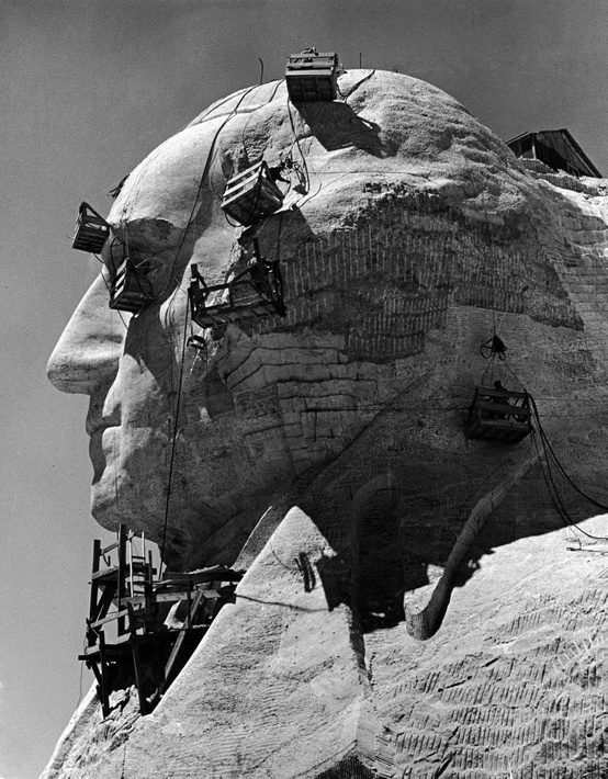 Photo:  1940, construction of george washington section of mt. rushmore monument