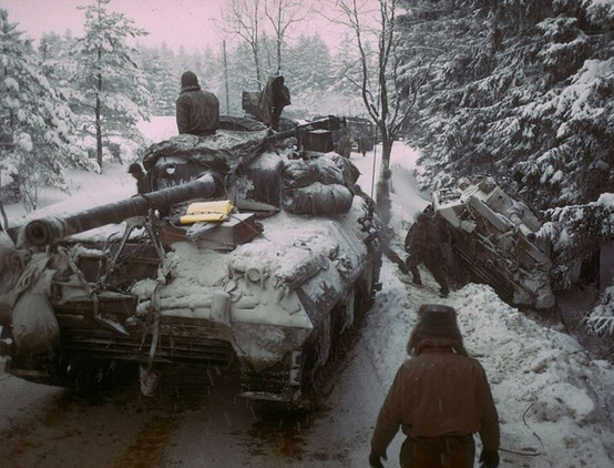 Photo:  American Sherman M4 tank in the Ardennes Forest. december 20th, 1944