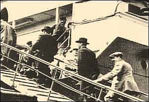 Photo:  Passengers boarding the Titanic