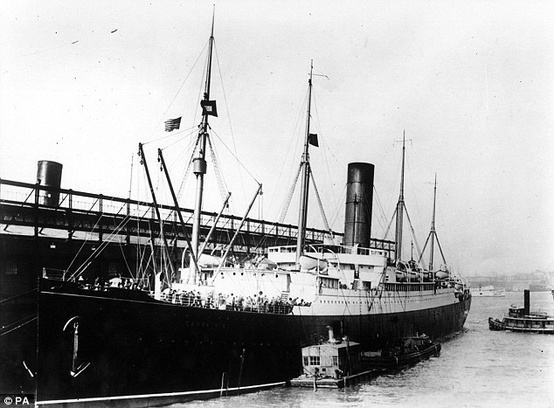 Photo:  The RMS Carpathia docked at Pier 54 in New York following the rescue of Titanic's survivors