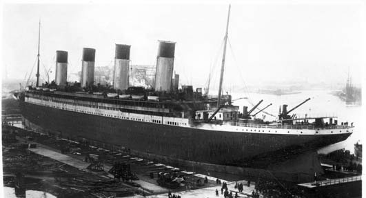 Photo:  The Titanic docked in Belfast, February 1912. It underwent sea trials before setting sail from England to New York in April