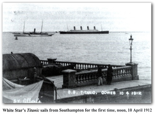Photo:  The Titanic sails from Southampton for the first time, noon, 10 April 1912