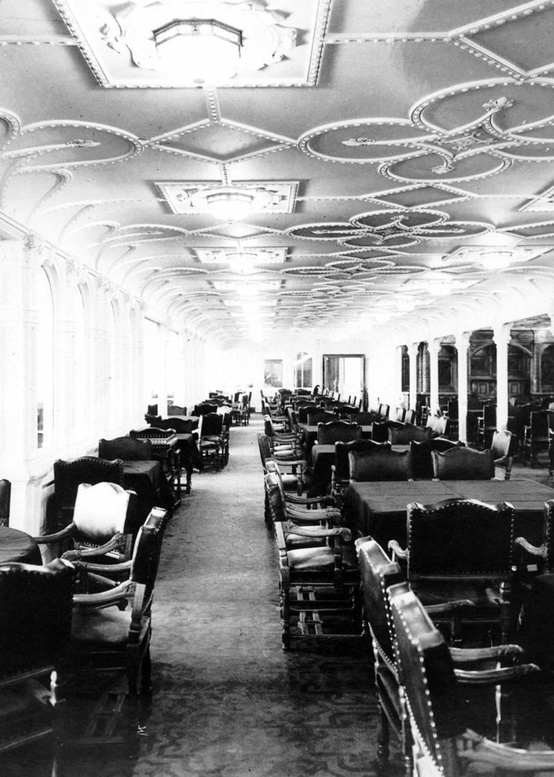 Photo:  The first class dining saloon aboard the RMS Titanic