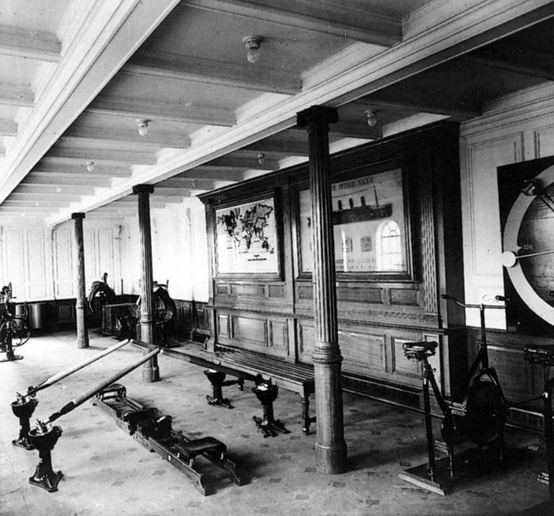 Photo:  The gymnasium aboard the RMS Titanic