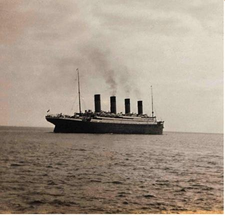 Photo:  The last photograph of the Titanic afloat