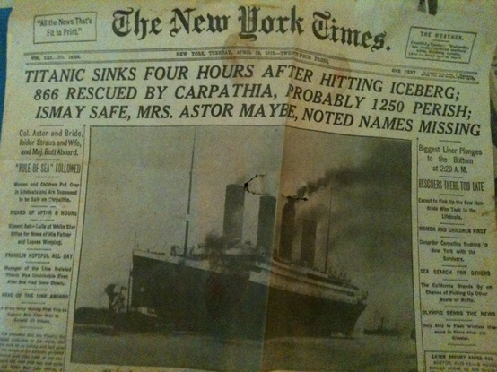 Photo:  original NY Times front page reporting the sinking of the Titanic