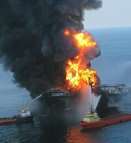Photo:  April 20 2010, the rig exploded, killing eleven workers and release 4.9Mn barrels of oil on Gulf of Mexico