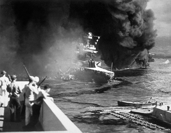 Photo:  The USS California on fire in Pearl Harbour