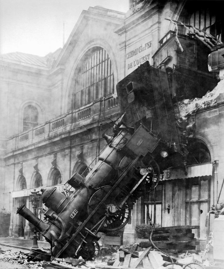 Photo:  Train wreck at Montparnasse Station, at Place de Rennes side (now Place du, 18 June 1940), Paris, France, 1895.