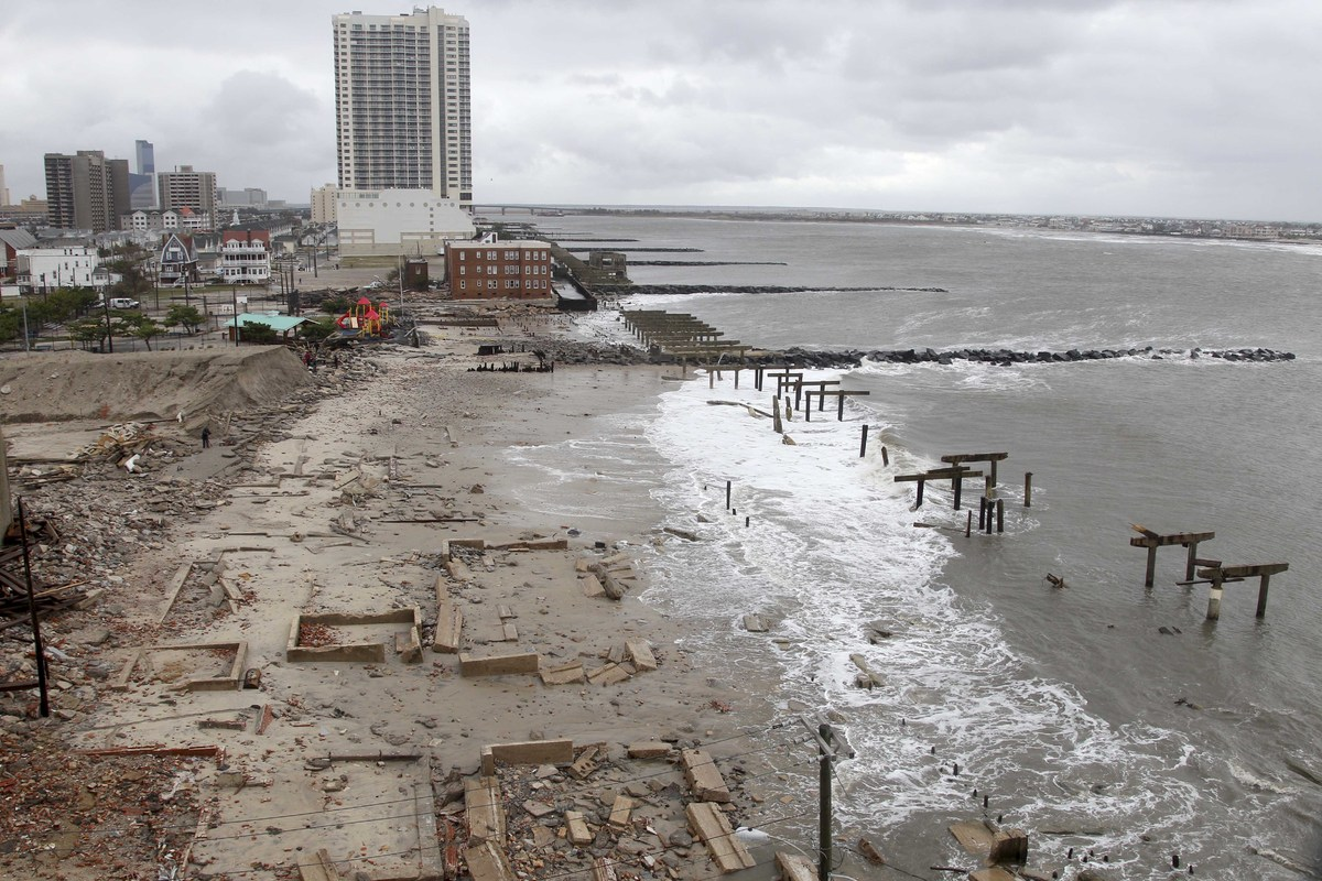 Photo:  Foundations and pilings are all that remain of brick buildings and a boardwalk in Atlantic City, N.J.,Oct. 30, 2012