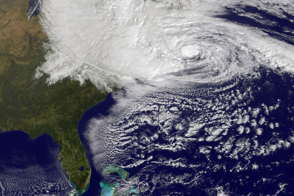Photo:  Hurricane Sandy,  October 29, 2012 by NASA's GOES satellite