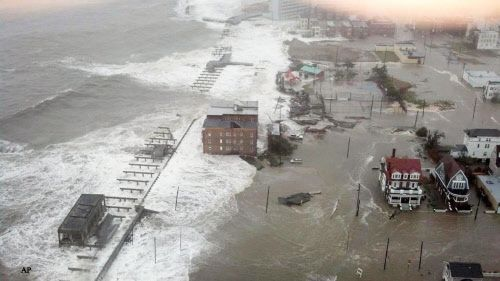 Photo:  Inlet section of Atlantic City, N.J., as Hurricane Sandy makes it approach