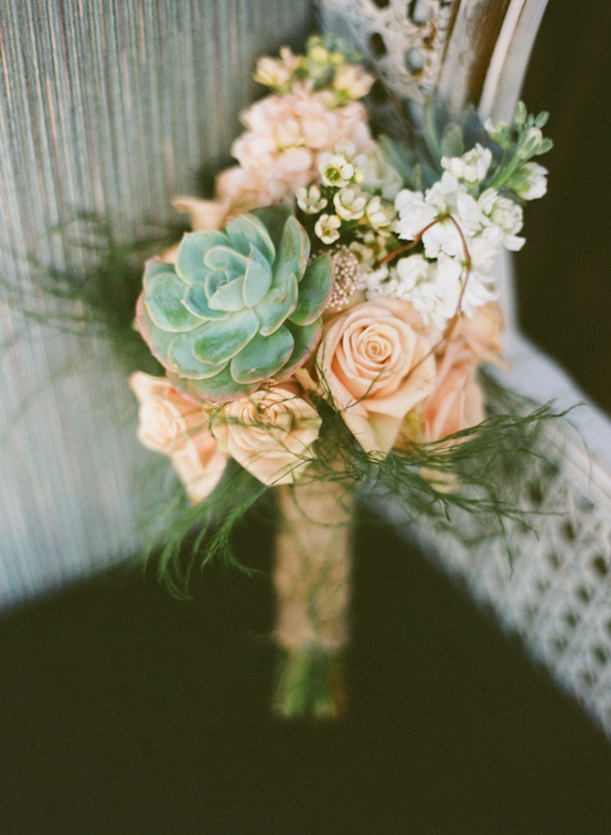 Photo:  succulents and rose bouquet