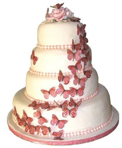 Photo:  Pink butterfly wedding cakes design