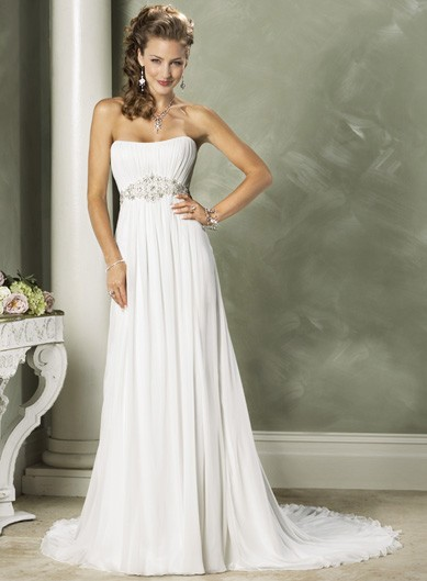 Photo:  Fashionable Strapless Empire waist Chiffon wedding dress