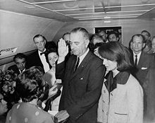 Photo:  Lyndon_B._Johnson_taking_the_oath_of_office,_November_1963