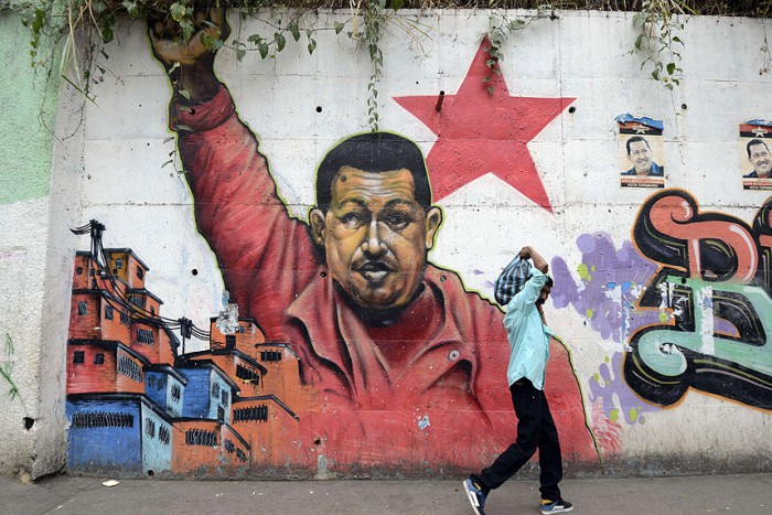 Photo:  A mural of Venezuelan President Hugo Chavez in Caracas