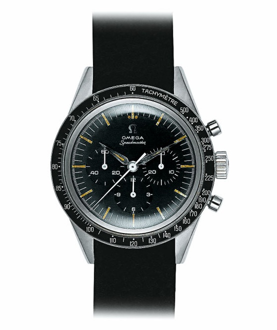 Photo:  This was the first Speedmaster in space. Walter Schirra wore this second version of the Speedmaster, which debuted in 1959, when he orbited the Earth in 1962.