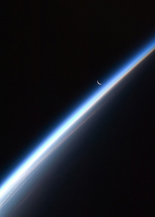 Photo:  Crescent Moon, Earth's Atmosphere