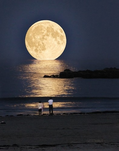 Photo:  Full Moon Ocean, Greece