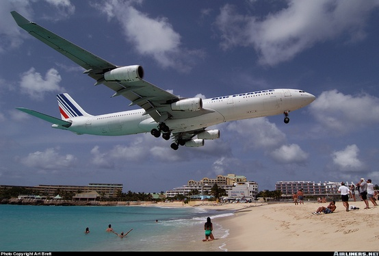 Photo:  Airbus A340 landing in St. Maarten