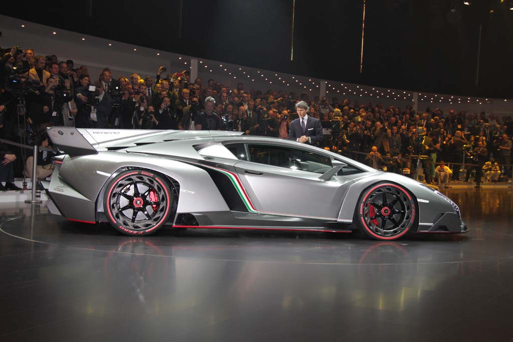 Photo:  Lamborghini CEO Stephan Winkelmann checks out the new Veneno during its Geneva debut.